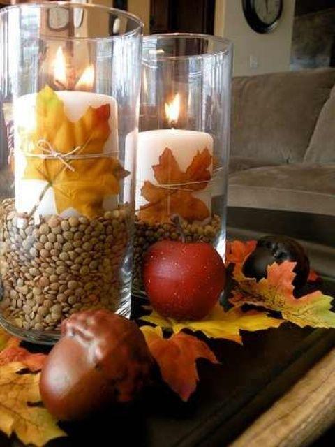 43 Dekorationsidéer för höstens soffbord    Höstens mittstycke, höstdekor.