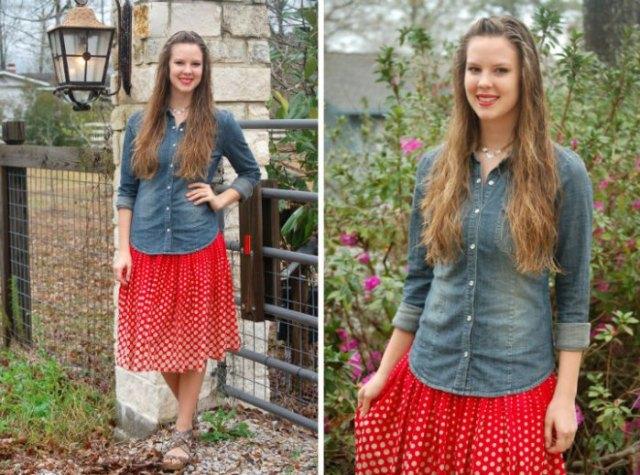 Chambray skjorta röd veckad kjol med prickar
