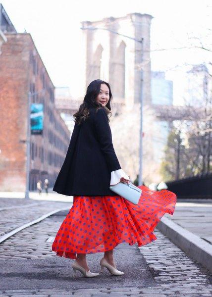Maxi polka dot chiffong kjol svart ullrock