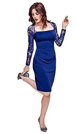 mörkblå, långärmad, figurkramande midiklänning i spets