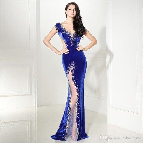 Kungsblå och silver älskling halsringning sjöjungfru hög split klänning