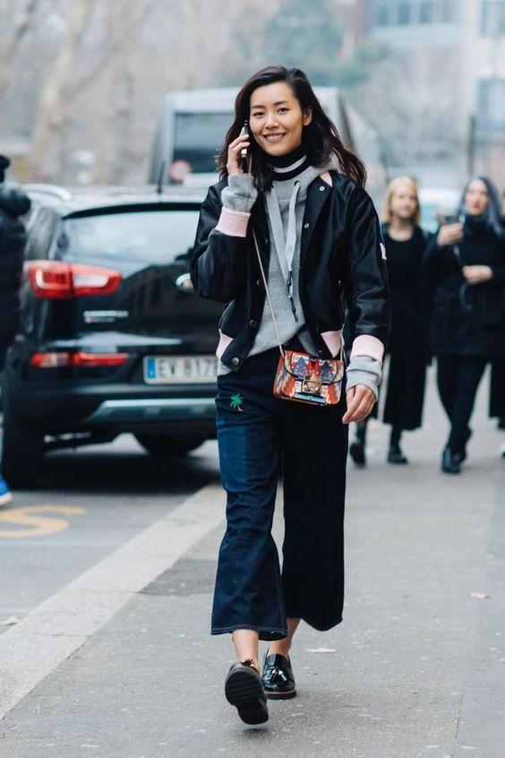 kort jacka mörka jeans