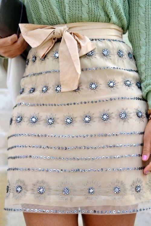 Chiffong kjol mini paljetter