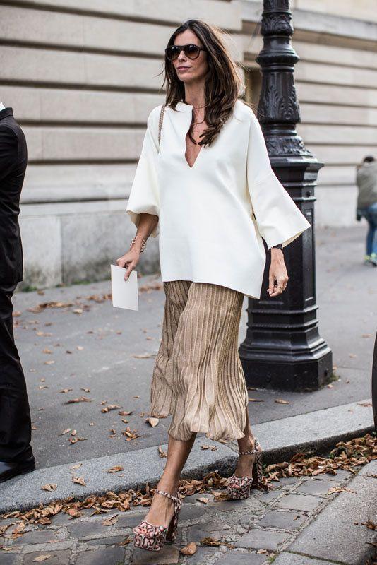 Chiffong kjol guld och vit