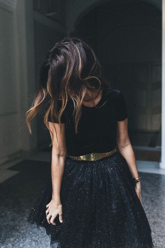 Chiffong kjol svarta paljetter