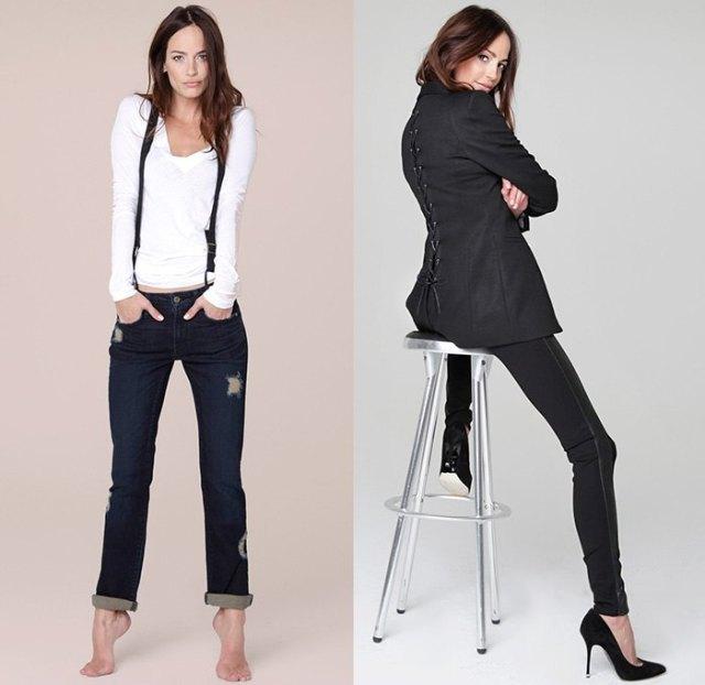 vit långärmad T-shirt med svarta, smala jeans med muddar