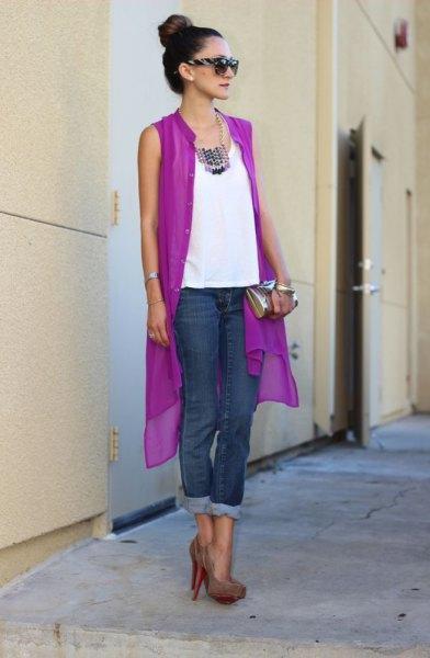 ärmlös lila chiffong kofta vita topp jeans