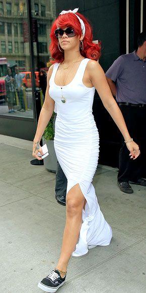 vit pansar klänning Rihanna