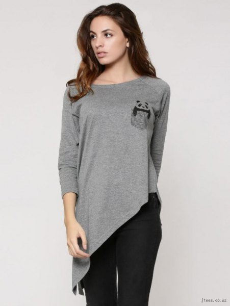 grå långärmad hög t-shirt svart skinny jeans