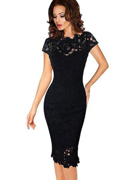 svart figur-kramar midiklänning med spetsar och ärmar