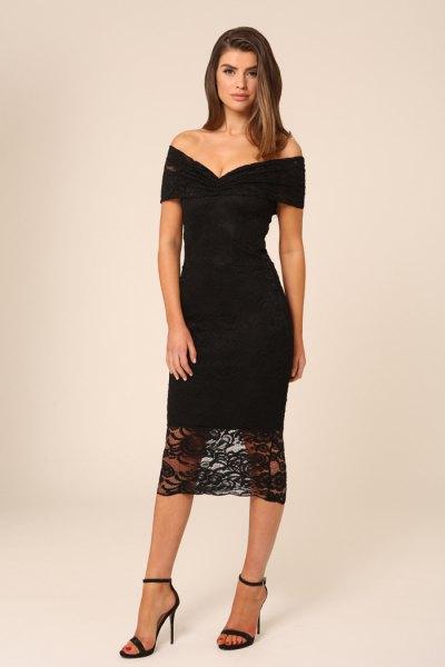 svart av axeln figur-kramar midi spets klänning