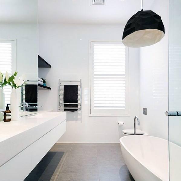 Topp 60 bästa vita badrumsidéer - Desig för heminredning