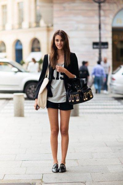 Oxford skor svarta bomberjacka shorts