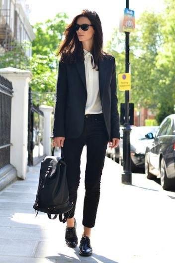 svart blazer oxford skor outfit