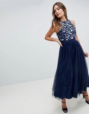 blå paljettopp med mörkblå maxi chiffong kjol