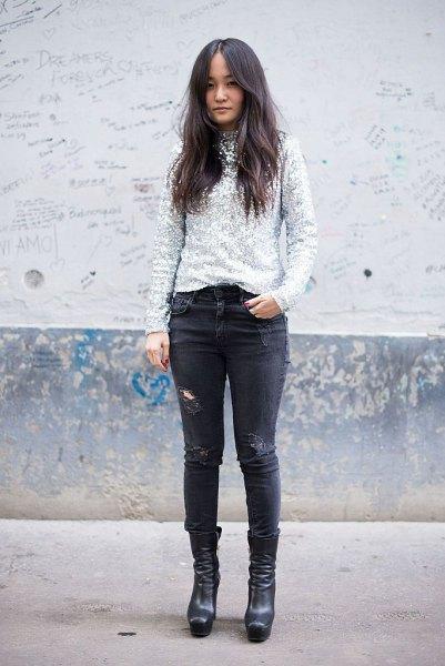 silver paljettröja med svarta skinny jeans