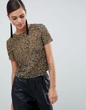 Crepe-paljett-t-shirt med maxi-kjol i konstläder