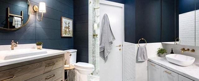 Topp 50 bästa blå badrumsidéer - Inredning i marintema