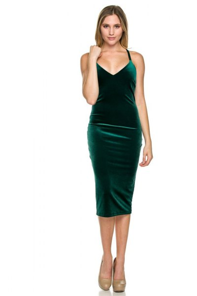 grön midi sammet klänning