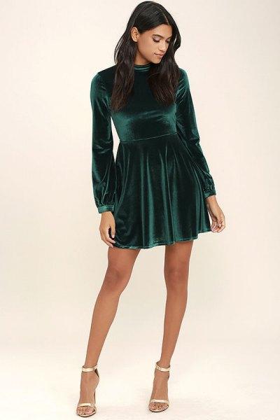 grön sammet skater klänning silver klackar