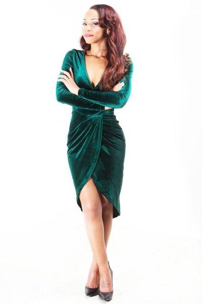knälång klänning i grön sammet