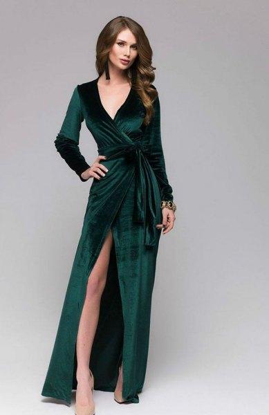 Hög split golvlängd wrap klänning