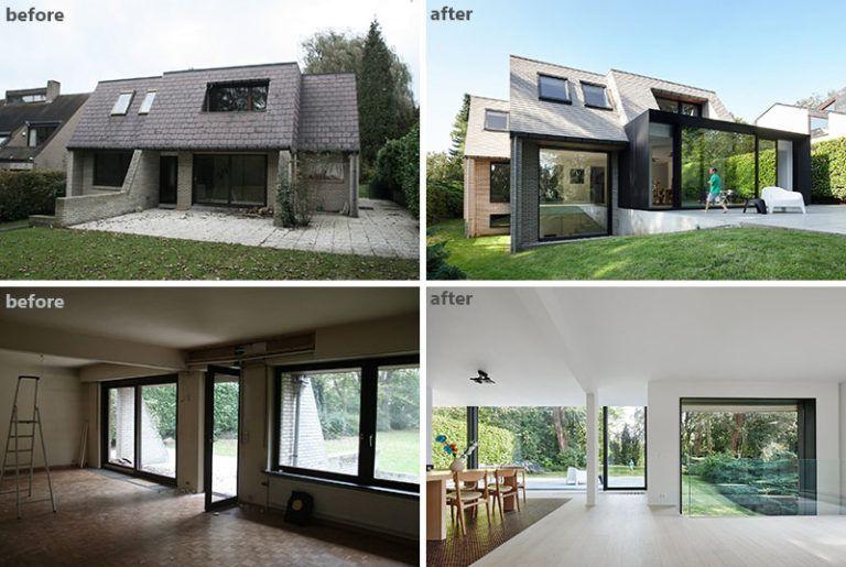FÖRE och EFTER - Renovering och utvidgning av en flamländsk villa.
