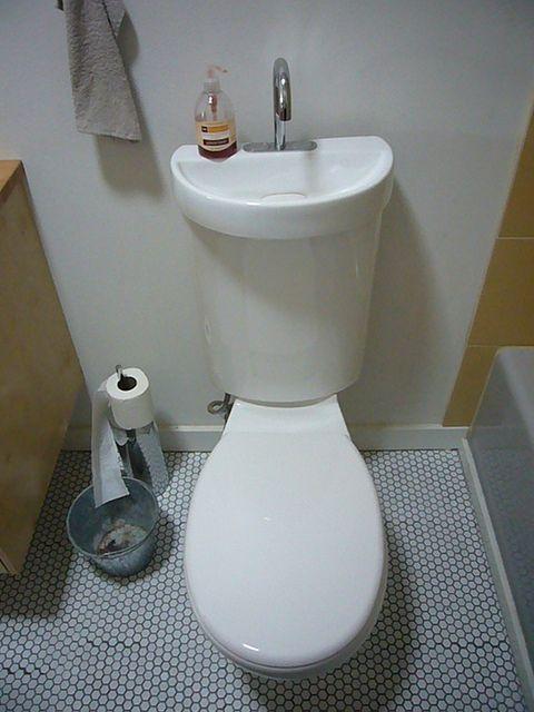 2-i-1 toaletthandfat Combo |  Toalett handfat, litet utrymme badrum.