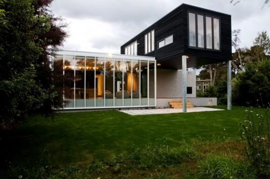 Modernt minimalistiskt hus i svartvitt, Rutherford House av.