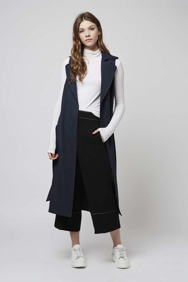 Longline ärmlös jacka outfit idé