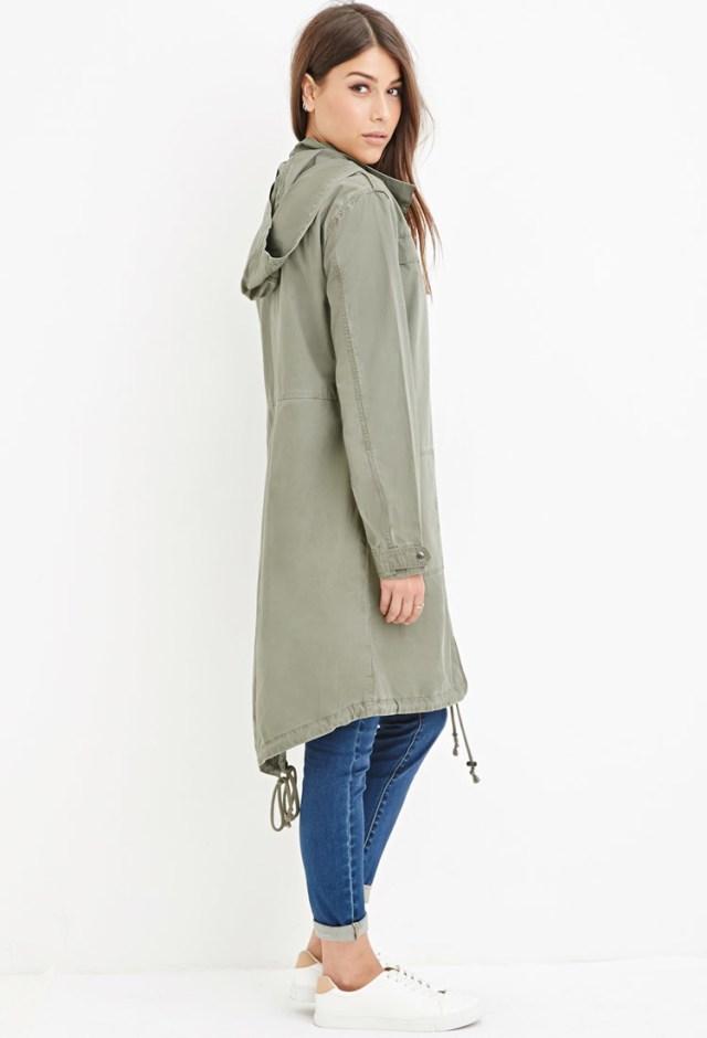 Longline Hooded Jacket Casual Street
