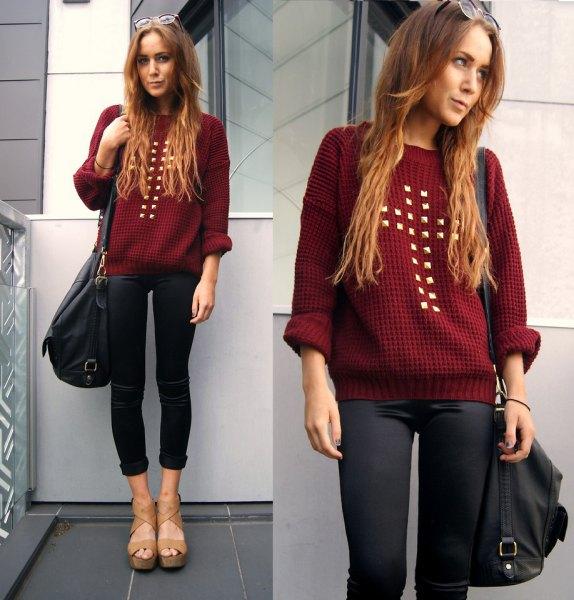 Rödbrun stickad tröja med svartbelagda skinny jeans