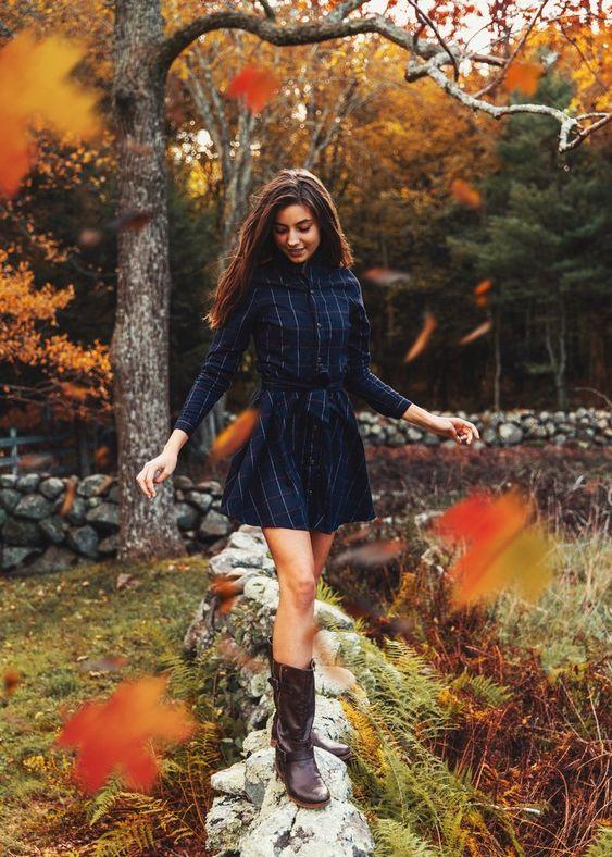 Flanellklänning höstfärger