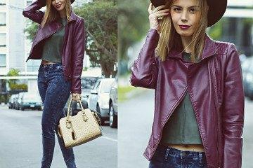 lila läderjacka grå crop top blue jeans