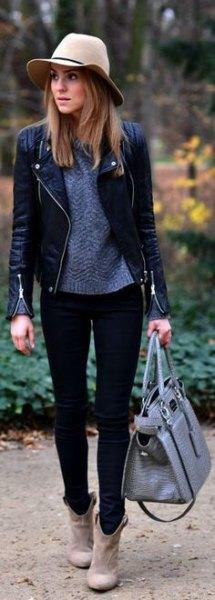 lila stickad tröja svarta skinny jeans