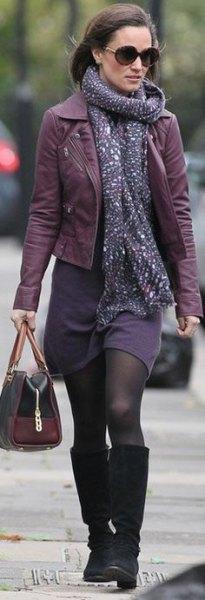 Läderjacka lila skiftklänning halsduk