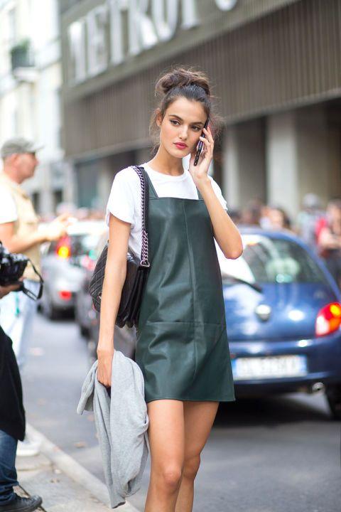 Rem klänning läder smaragdgrön