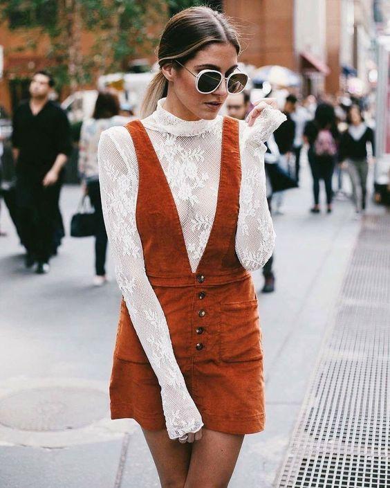 Orange corduroy-remklänning