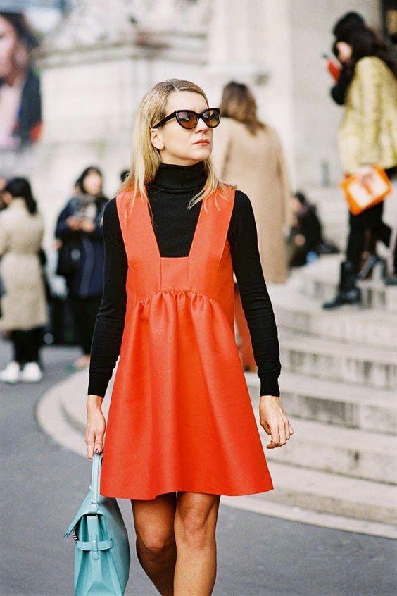 Pinafore klänning ljus orange