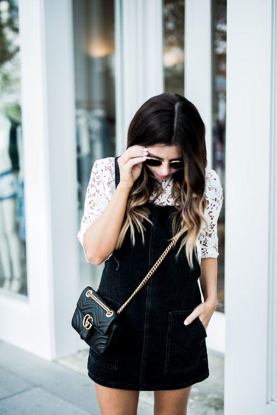 Pinafore klänning svart och vitt
