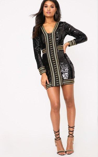 svart bodycon-klänning med paljetter