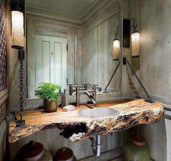 51 Galen vackert rustikt lada badrum |  Rustikt badrum.