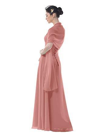 rosa golvlång klänning med matchande halsduk