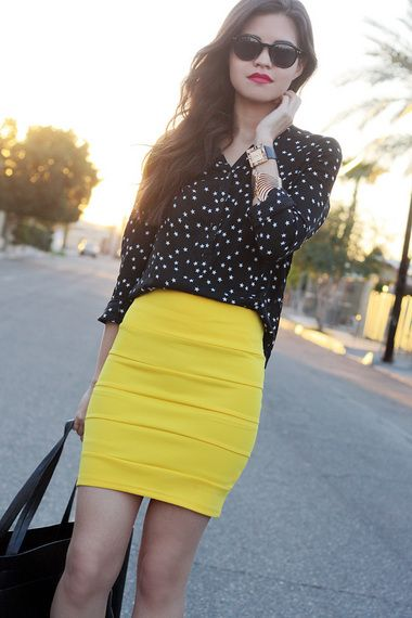 Bandage kjol gula prickar