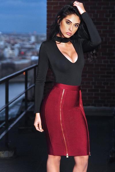 Bandage kjol röd dragkedja