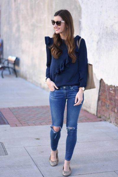 Mörkblå långärmad topp med blå ribbad skinny jeans