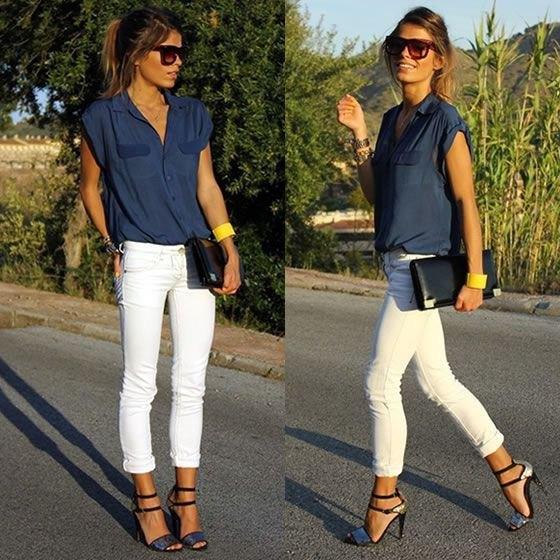 ärmlös butotn-up skjorta med vita skinny jeans