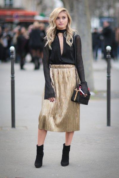 svart chiffongkrage chiffongblus guld kjol