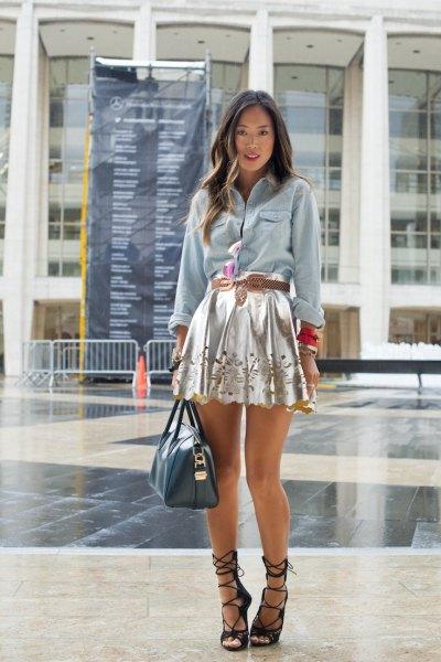silver minikjol denimskjorta