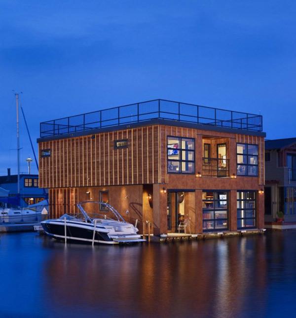 Flytande sjöhus, båtinspirerad Livi
